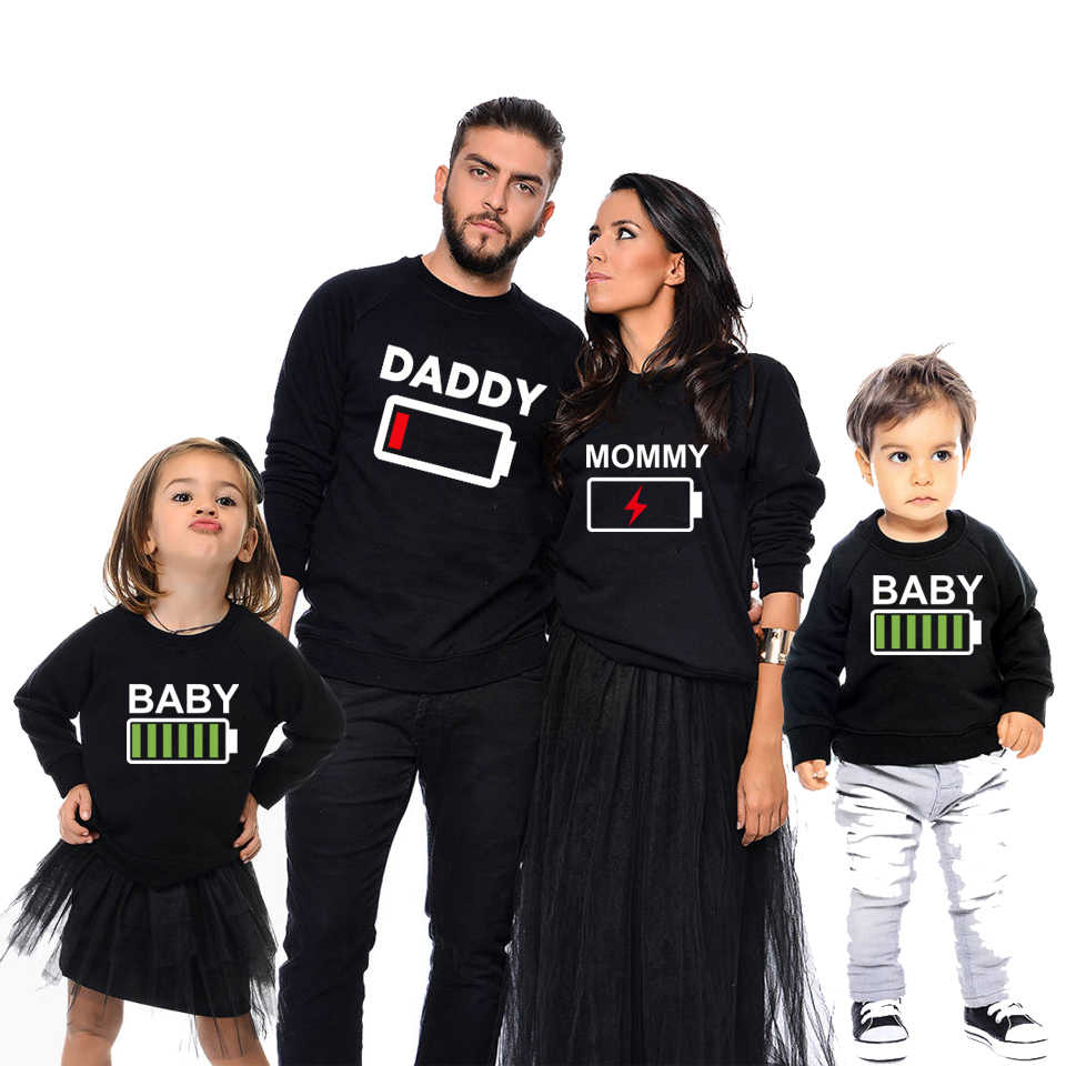 9c5b741345 Detail Feedback Questions about family matching outfits battery sweatshirts  mother daughter dad son tops mommy and me clothes family look baby dresses  ...