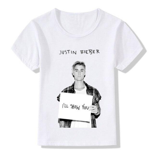 2018 Justin Bieber Drucken Kinder T Shirts Sommer Top Jungenmädchen