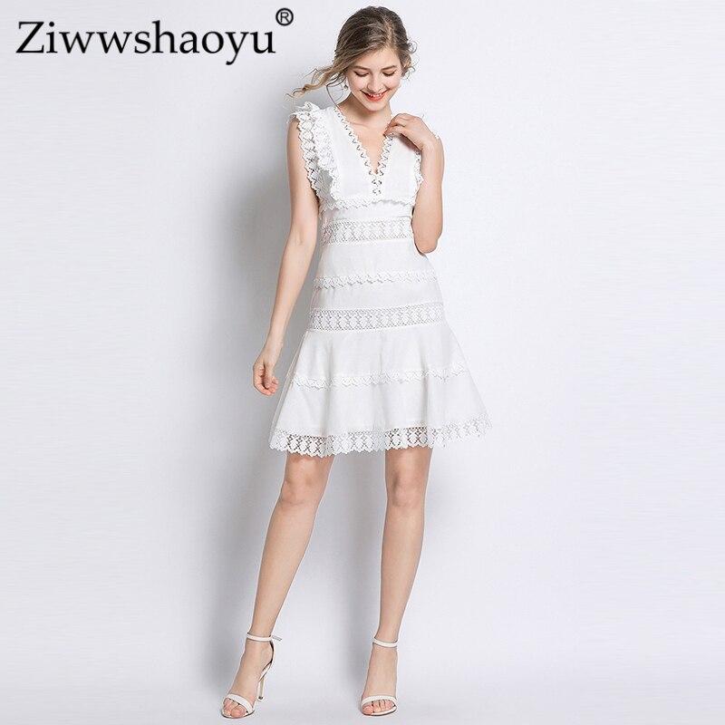 Ziwwshaoyu mode fleur soluble dans l'eau robe v-cou évider élégant manches chauve-souris Mini robe printemps et été nouvelles femmes