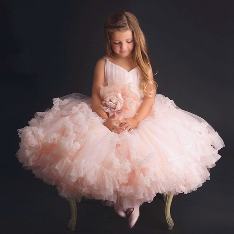 цены Pink Big Rose Flower Girl Tutu Dress Kids Princess Wedding Bridesmaid Birthday Party Prom Tulle Dresses for Girls Robe Fille New