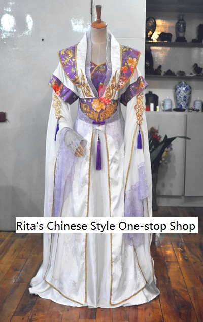 Lie Yun White Purple Princess Fairy Costume Chinese Traditional Hanfu  Female Costume For Photography With Tailing