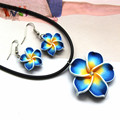 AMGJ Hot Sale Stylish Blue Hawaii Flowers Crystal Polymer Clay Earrings Pendant Necklace Set