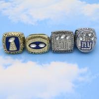Drop shipping Classic alloy 4pcs set 1980 1990 2007 2011 NY Giants championship rings for fans custom FOOTBALL rings