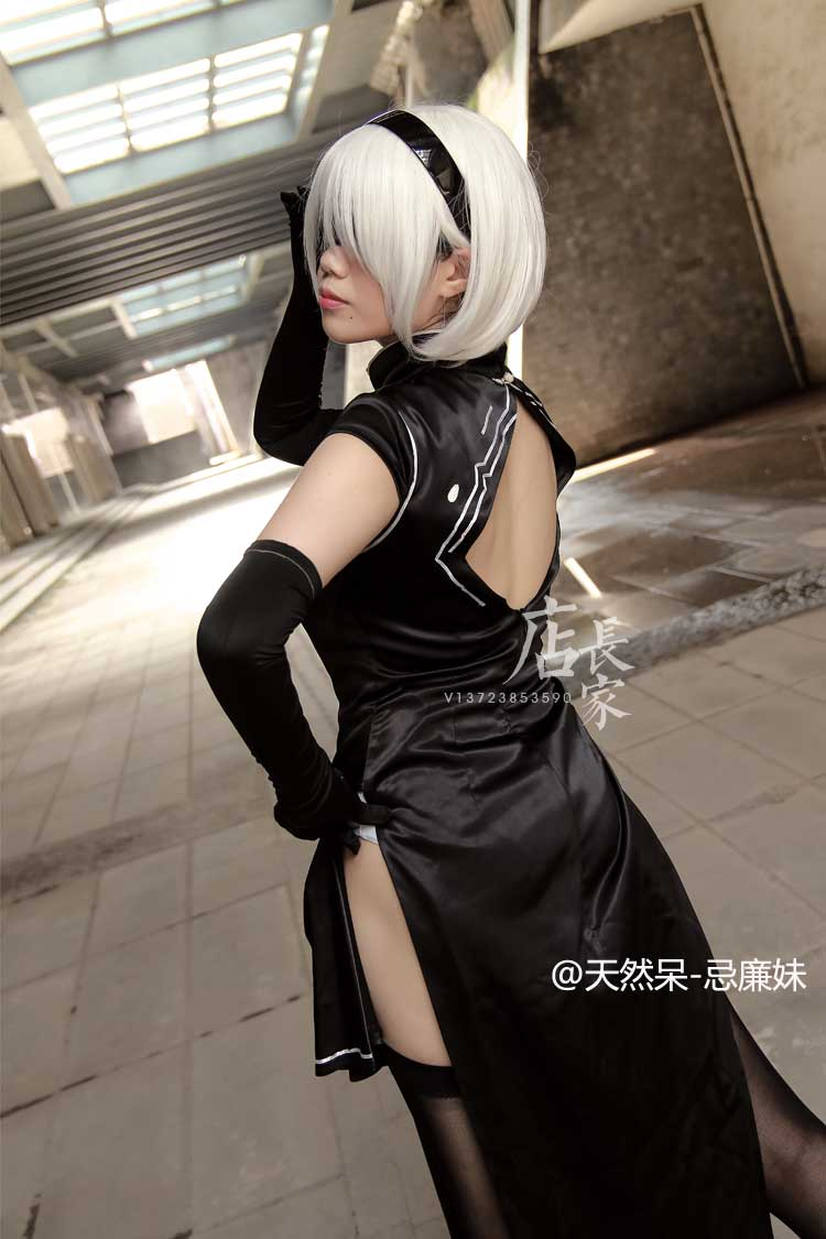 Free Shipping NieR: Automata YoRHa Number 2 Type B 2B Cosplay Costume Qipao  Eye patch+Headband+Dress+Sleeves+Socks S XXL-in Sexy Costumes from Novelty  ...