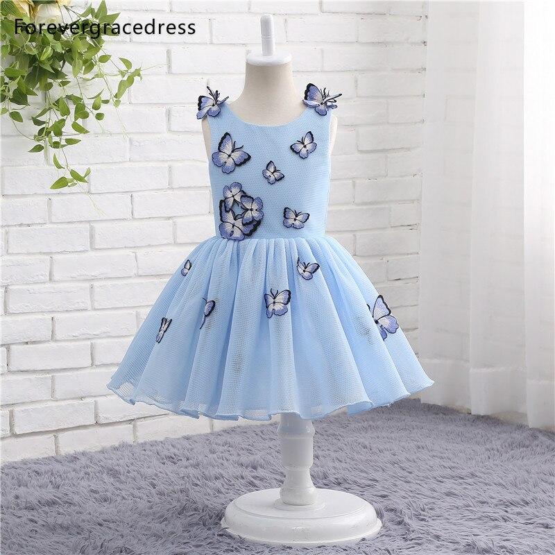 Forevergracedress Real Photos Pretty Blue   Flower     Girl     Dress   Cute Butterfly Sleeveless Zipper Back Kids Pageant Children Gown