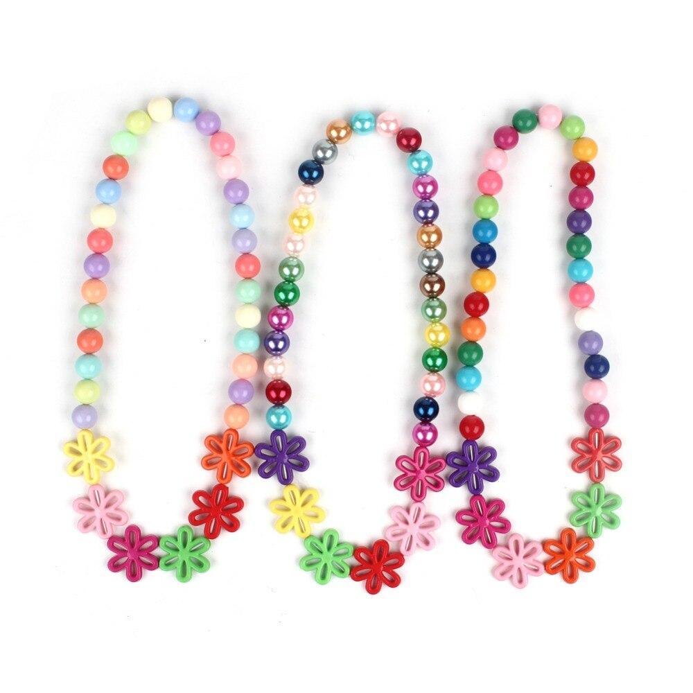 3Pc Trolls Kids Rainbow Chunky Necklace Kids Children Infant Party Trolls Accessory Flower Decor Loose Beads Bubblegum Necklace