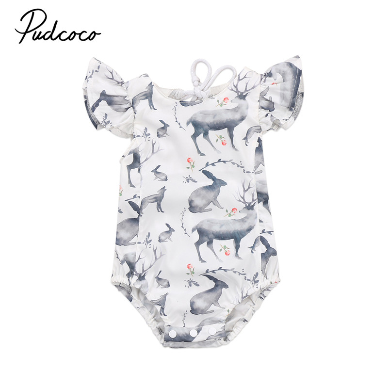 Cartoon Animals Printing Lovely Girls Summer Rompers Cute Lace Up Neck Backless Summer Sleeveless Baby Jumpsuit Outfits Clothes