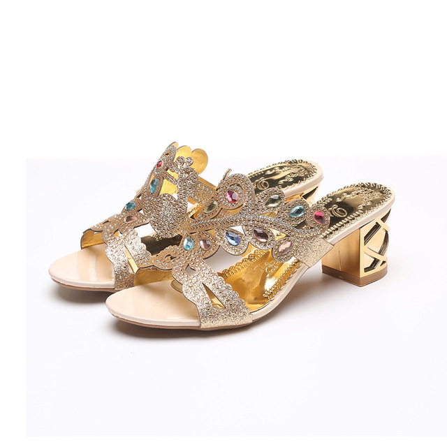 1b83e5d6cde54 2018 new ladies fashion women slippers summer fashion thick with wild wear  outside the diamond fish mouth sandals and slippers