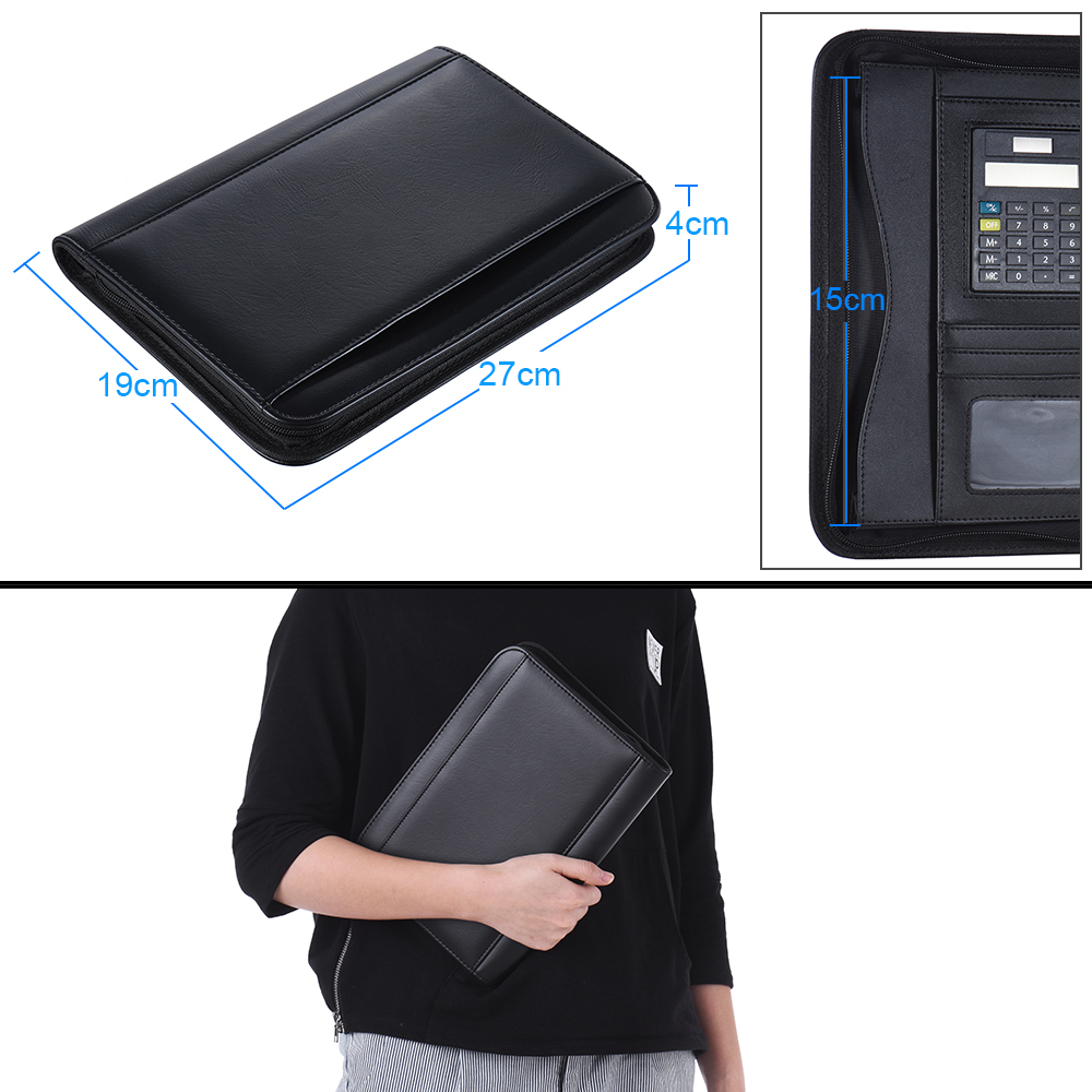 PU Leather A5 Portable Business Portfolio Padfolio Folder Document Case Organizer with Calculator Holder Memo Note Writing Pad ppyy new a4 zipped conference folder business faux leather document organiser portfolio black