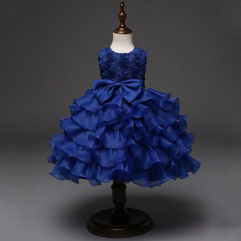 84841b026cc Одежда для детей возрастом от 3 до 8 лет Летнее Детское платье нарядные  платья для свадебной церемонии детское ярко-синее платье для девочек .