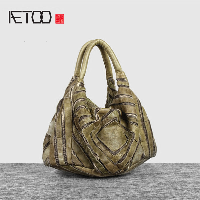 AETOO  Europe and the United States retro Sen female personality leather handbag handbag head layer of leather stitching shoulde chinese chronological stamps 2006 28 the one hundred and fortieth anniversary of the birth of sun yat sen fidelity