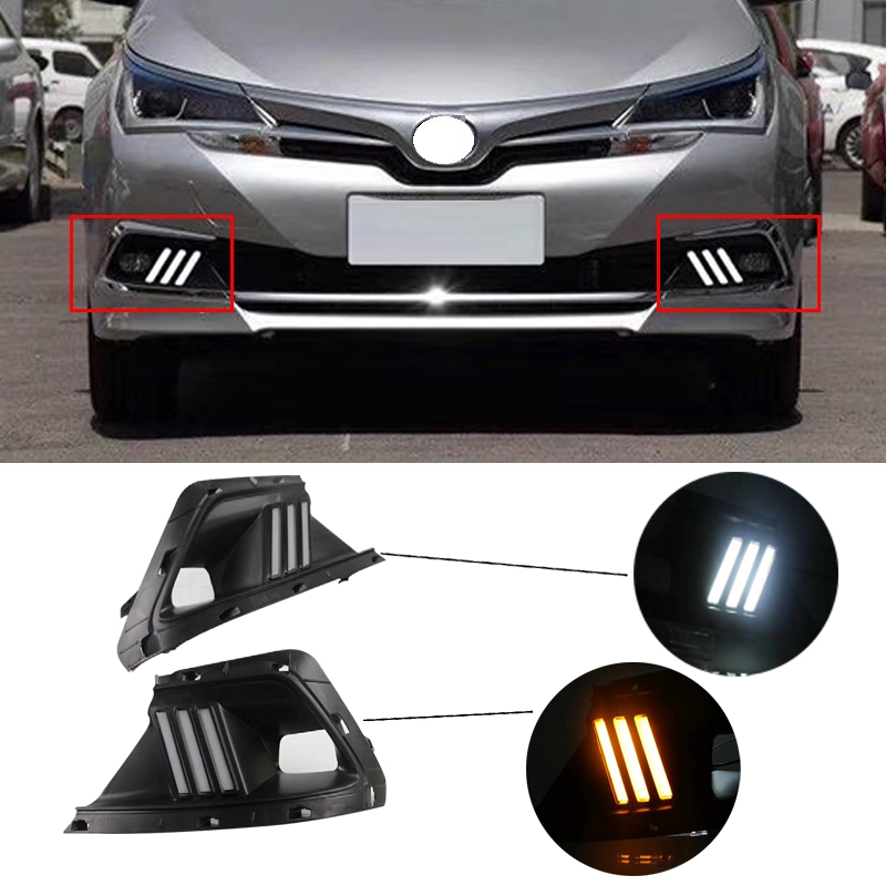 CITY CAR AUTO LED DAYTIME RUNNING LIGHT Fit For Corolla 2017 2018 Two Style light fog lamp cover DRL WITH YELLOW TURNING SIGNAL hervé léger длинное платье