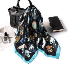 2019 Women's Square Silk Scarf Print Summer Shawls Wraps Bandana Female Small Office Scarf Foulard Headband Head Scarf 70*70CM insect print bandana scarf