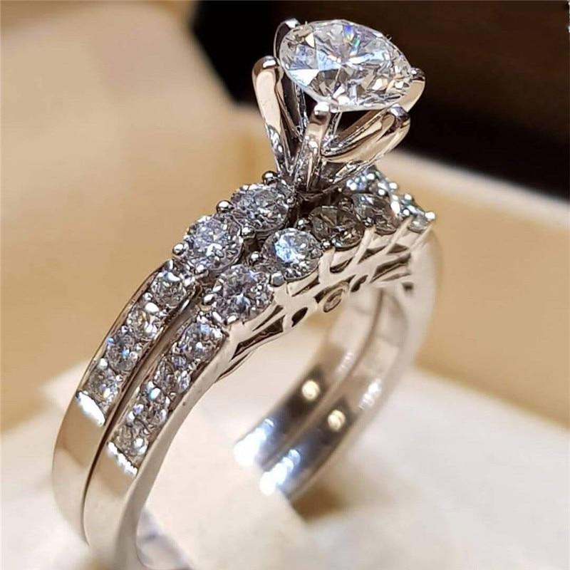 2 шт. свадебный набор элегантные кольца для женщин серебряного цвета Свадебные обручальные модные украшения с полностью блестящим Cubiz женское кольцо с цирконом - Цвет основного камня: E