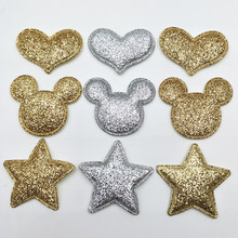 30pcs sew on Glitter felt Star/Heart/Cat head padded applique for scrapbooking accessories(China)