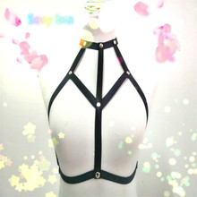 2016 new pastel goth studded chest garter belt gothic bust harness bra Rave wear sexy women cage lingerie bralette black retail