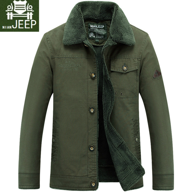 58215c5a1b Nian JEEP Marque Vêtements doublure molletonée Épais Homme de manteau  d'hiver col de fourrure