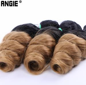 Image 2 - ANGIE Loose Wave Curly Hair Bundles Synthetic Hair Weave 3 Pieces/Lot 16 18 20 Inches Two Tone Ombre Black /27#  For Women