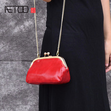 AETOO New ladies shoulder bag leather fashion wax wax leather clutch Korean version of the evening bag aetoo new leather leather korean version of the wave of shoulder bags simple leisure travel bag backpack