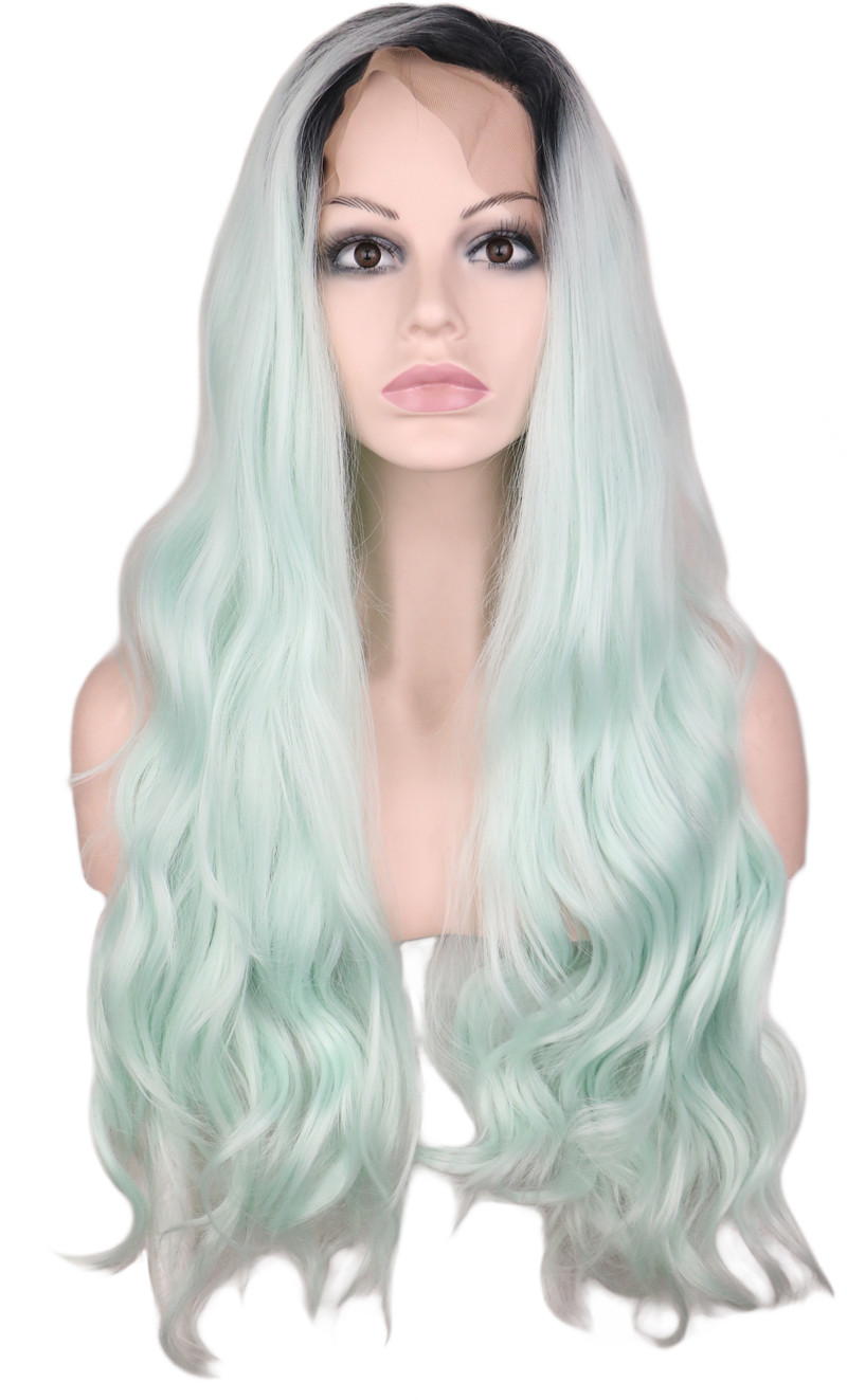 QQXCAIW Long Glueless Wavy Synthetic Lace Front Wig For Women Hair Mint Green Ombre Black Roots