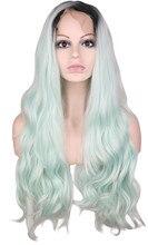 Qqxcaiw длинные Glueless волнистые химическое Синтетические волосы на кружеве парик для женщин волосы Зеленая мята Ombre черный корни Парики