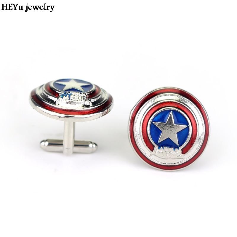 Filme de Super-heróis Capitão América Escudo Vibranium Cuff Links Camisa  Marca Botões de Punho do Metal Liga Partido Abotoaduras Para Homens  Presentes 8159986a8de0d