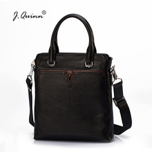 J.Quinn Small Breifcases Mens Leather Bags Travel Totes Black Casual Bull  Brand Quality Top 09ed1d02fefd5