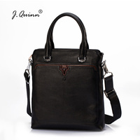 J.Quinn Small Breifcases Mens Leather Bags Travel Totes Black Casual Bull Brand Quality Top Cow Genuine Leather Shoulder Bag New