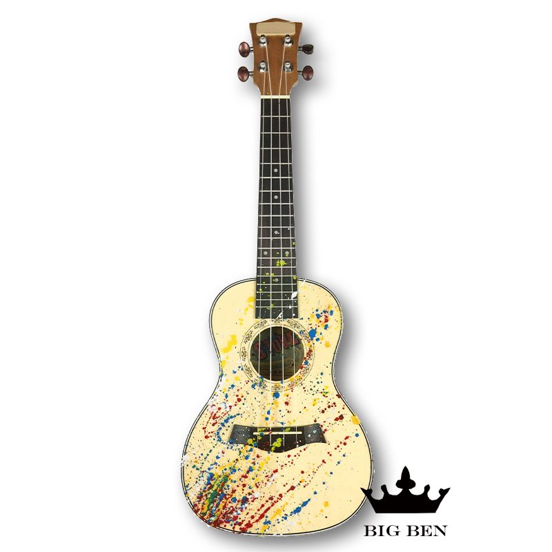 New oil painting style 23 inch Sapele 19 fred Ukulele teaching professional performance Hawaii guitar solid top factory shipping pattern thicken waterproof soprano concert tenor ukulele bag case backpack 21 23 24 26 inch ukelele accessories guitar parts gig