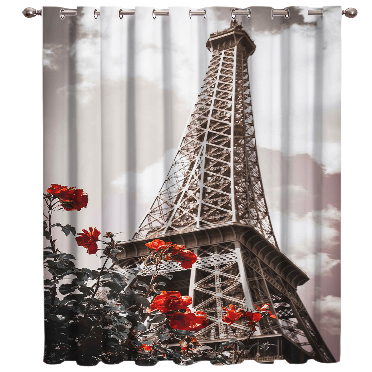 Retro Eiffel Tower Room Curtains Large Window Window Curtains Dark Living Room Bedroom Curtains Bathroom Bedroom Outdoor Fabric
