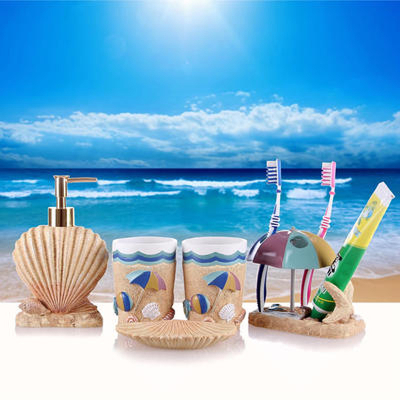 Modern Luxury Resin 5pcs/set Bathroom Set Accessories Marine Style Toothbrush Holder Soap Dish Wash Decors Wedding Creative Gift image