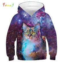 Boys Girls Sweatshirt Kids Hoodies Galaxy Print 3D Hoodies for Girls Clothes Autumn Cute Cat Loose Pullovers Children Clothing