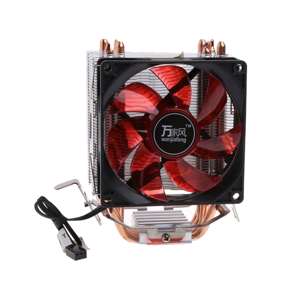 4 Heatpipe 130W Red LED CPU Cooler Fan 3Pin Aluminum Heatsink For Intel LGA775/1156/1155 AMD AM3/AM2+/AM2 92*92*25mm C26 new pc cpu cooling fan cooler heatsink for intel lga775 am2 am3 754 939 940 c77 dropship