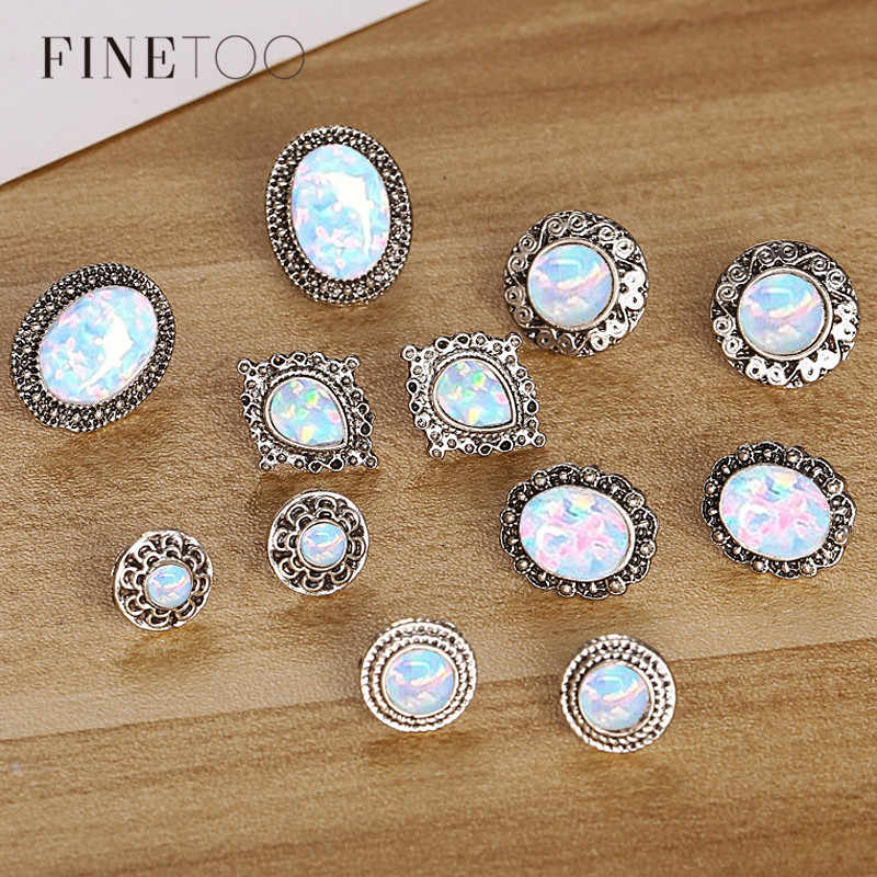 6 Pairs/Set Iridescent Geometric Stone Stud Earrings Set Universe Space Galaxy Rainbow Earrings for Women Boucle D'oreille