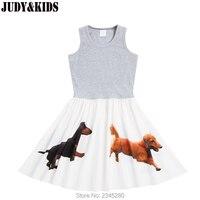 Moda adolescente meninas roupas colete vestido de verão 3D impresso animal cão crianças vestidos para meninas sem mangas praia vestido para adolescentes