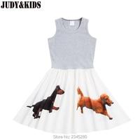 Zomer mode tiener meisjes kleding vest jurk 3D gedrukt dier hond kids jurken voor meisjes mouwloze strand jurk voor tieners