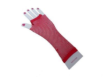 Горячие девушки сексуальные хип-хоп панк сетчатые красные перчатки для ночных клубов - Цвет: Красный
