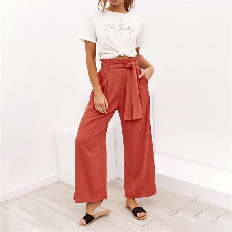 NIBESSER Women's   Wide     Leg     Pants   Cotton Linen High Waist Tie Front Trousers OL Lace Up Bow Loose Trousers Beach Casual Colorful