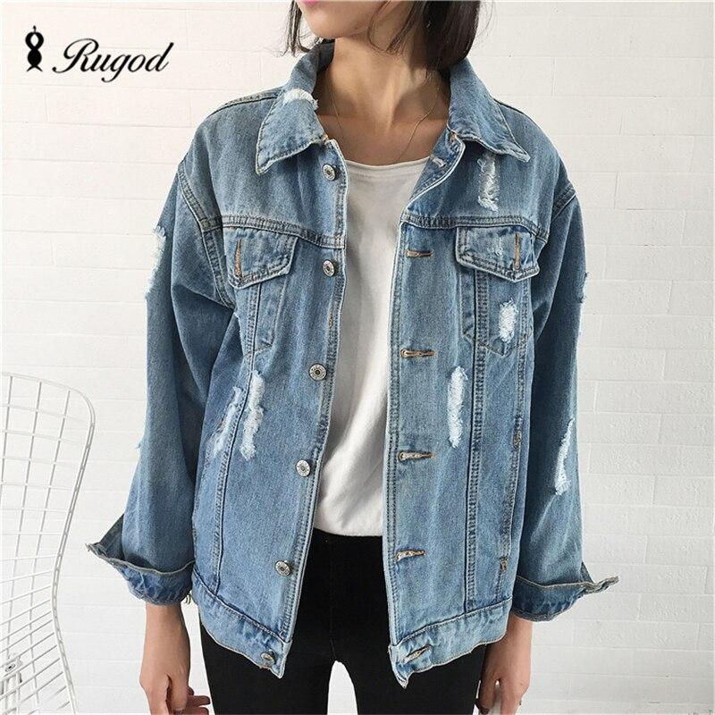 2018 Women Basic   Coat   Denim Jacket Women Winter Denim Jacket For Women Jeans Jacket Women Denim   Coat   loose fit casual style