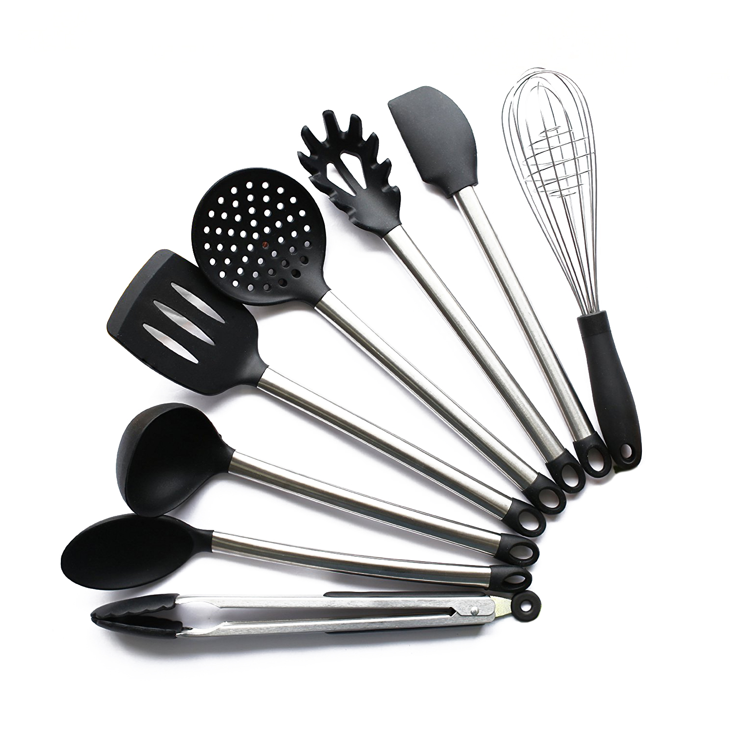 8 piece kitchen utensil set stainless steel and black