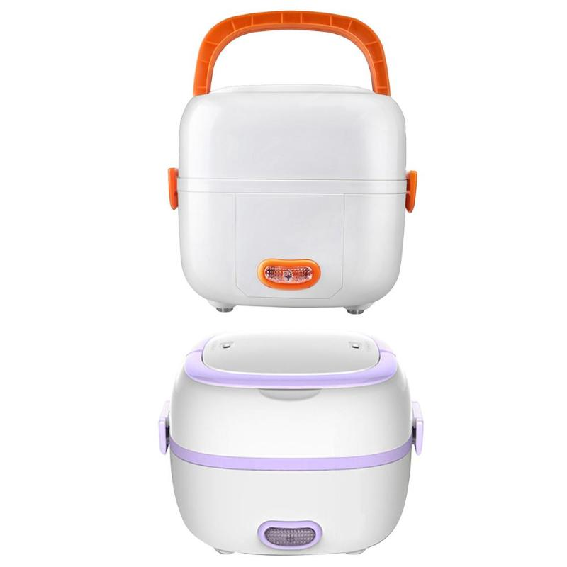 1L Portable Electric Food Meal Lunch Box Multi-function Mini Rice Cooker Food Container for School Offce Home Vehicle Car 220v 600w 1 2l portable multi cooker mini electric hot pot stainless steel inner electric cooker with steam lattice for students