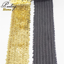 5yds 8Rows  75MM Wide Stretch Sequin Embroidery Mesh Lace Ribbon,Elastic Sequins trims sewing wedding/Waistband/Hair Accessories wide waistband mesh panel crop leggings