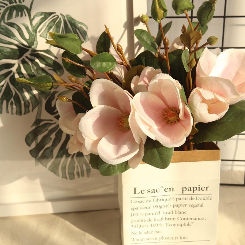 One Bouquet Artificial Flower Leaf Magnolia Floral Wedding