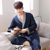 2017 Plus Size Cotton Terry Robes For Men Kimono Bath Robe Sleepwear Mens Lounge Nightgown Long