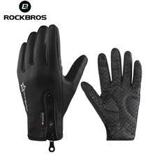 ROCKBROS Winter Fleece Thermal Bicycle Bike Anti-slip Gloves Waterproof Touch Screen Phone Motorcycle Equipments