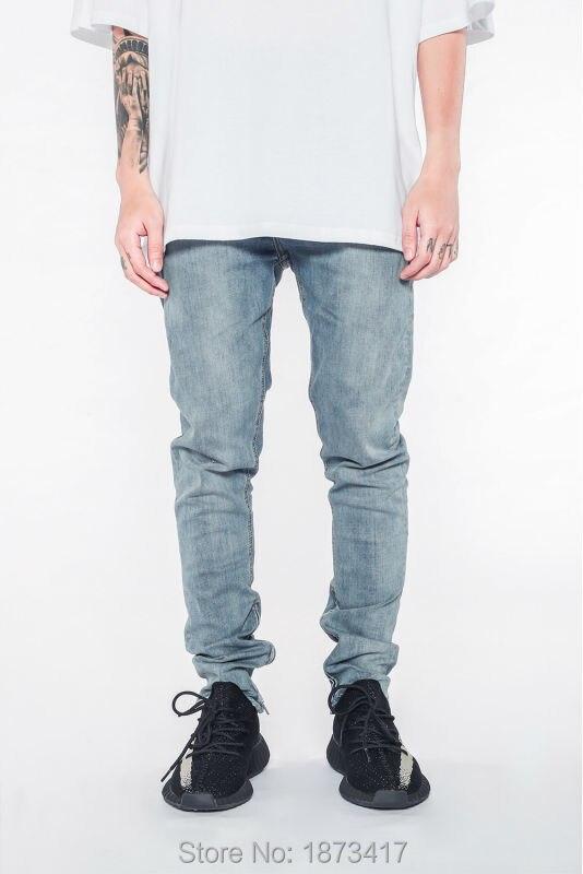 ФОТО Newest Ankle Zipper Jumpsuit Jeans Mens Designer Clothes Urban Clothing Club Fashion Singer Justin Bieber Fog Blue Skinny Jeans