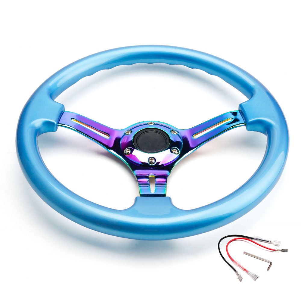CNSPEED Car Sport Steering Wheel 350mm 14inch Universal Blue Black White Classic Abs With Neo Chrome Spokes 6 Holes sport abs chrome