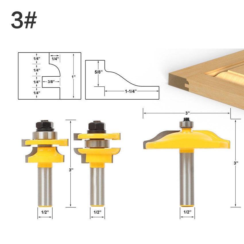 3 Bit Raised Panel Cabinet Door Router Bit Set- Bevel-1/2