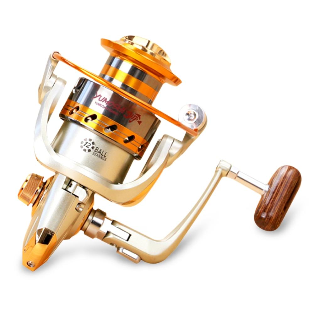 Yumoshi 12BB 5.5 : 1 Fishing Reel EF 1000- 9000 Metal Spool Spinning Fishing Reels Fake Bait with Foldable Handle Hot-selling