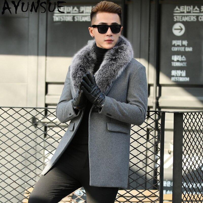 AYUNSUE automne hiver réel renard col en fourrure laine hommes manteau coréen cachemire veste hommes coupe-vent pardessus Abrigo Hombre KJ649